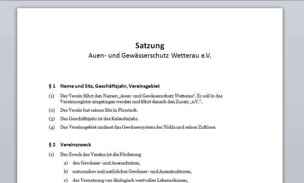 Satzung - Auen- und Gewässerschutz Wetterau e.V.